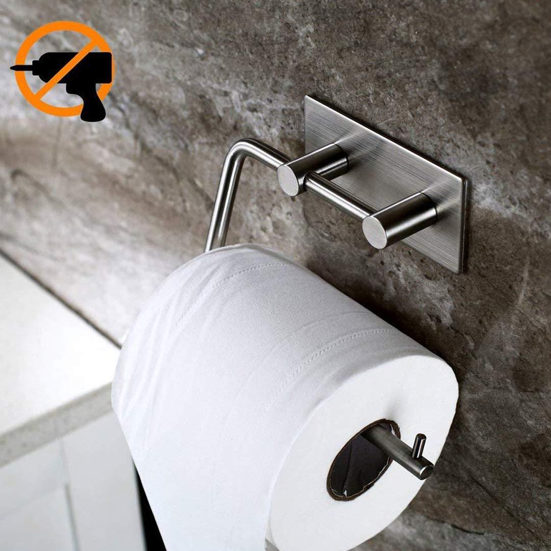 Duoue WC Porta Carta Igienica Adesivo Muro Acciaio Inox Portarotolo Bagno Porta Rotolo Carta Igienica per Bagno e Toilette
