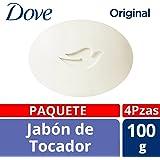 Dove Jabón de Tocador Original, 100 gr, Paquete de 4 Piezas