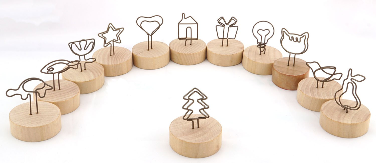 NXG 12 Pack Wood Creative Photo Holder, Wood Base with Metal Funny Clip Desktop Decoration, Memo Holder Stand, Tabletop Card Holder, Creative Gifts