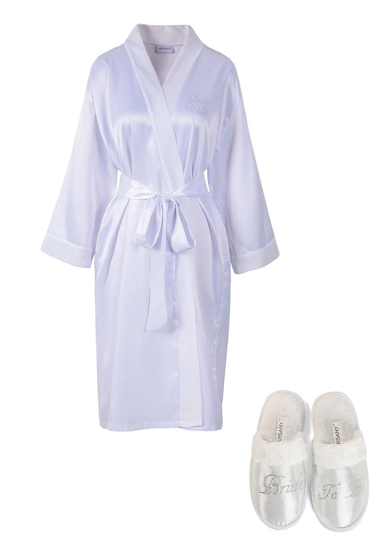 Amazon.com: White Rhinestone Bride To Be Satin Bridal Dressing Gown ...