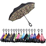 AWEOODS Inverted Umbrella Windproof Reverse Folding Double Layer Travel Umbrella with C Shape Handle, Peacock Black