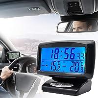 MASO - Reloj de temperatura universal para salpicadero de coche, con luz negra y pantalla LCD ajustable, medidor de…