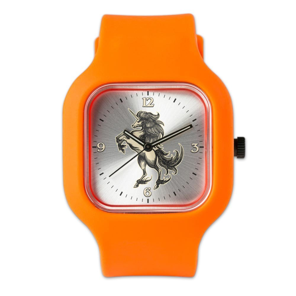 Orange Fashion Sport Watch Unicorn Heraldry Engraving Style