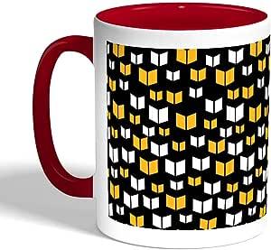 كوب سيراميك للقهوة بتصميم اشكال زخرفية، لون احمر