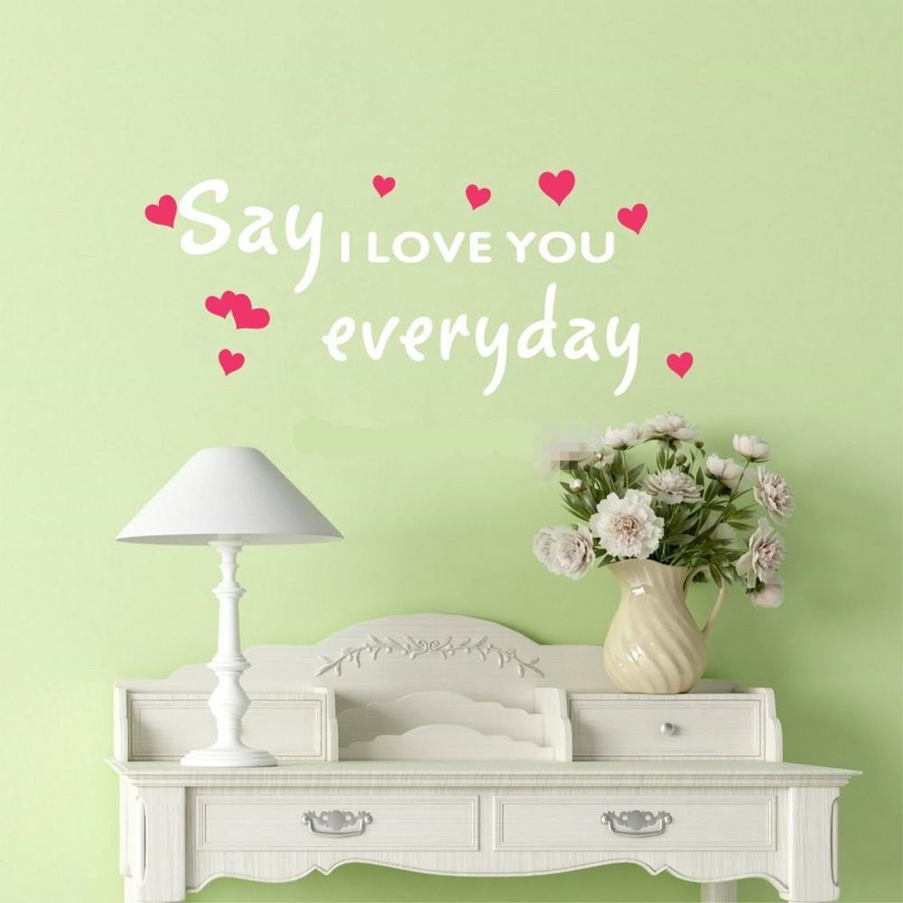 ghjft Vinyl Removable Wall Stickers Mural Decal Say Love You Everyday Quote Hearts for Home Decor by ghjft