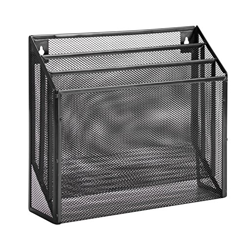 Honey-Can-Do OFC-06208 Mesh Vertical File Sorter, 3.6 x 12.6 x 11.5, Black