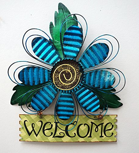 Yk decor metal artisannal daisy welcome wall art blue for Al ahram aluminium decoration
