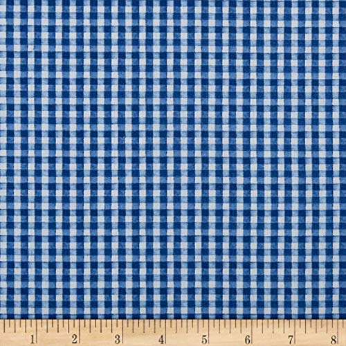 (Wilmington Prints Berry Sweet Gingham Fabric, Blue, Fabric By The Yard)