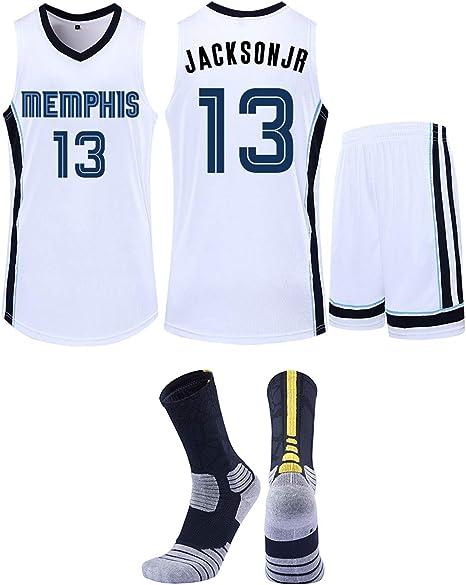 Gby Memphis Grizzlies No 13 Jacksonjr Basketbaluniform Kinderfanversie Sneldrogend Basketbalshirt Mesh Mouwloos Korte Mouwen Shorts Sokken White S Amazon Nl