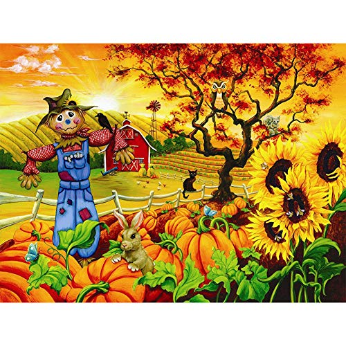 (UPMALL DIY 5D Diamond Painting by Number Kits, Full Drill Crystal Rhinestone Embroidery Pictures Arts Craft for Home Wall Decoration Farm Pumpkin Land Scarecrow 15.7×11.8 Inches)