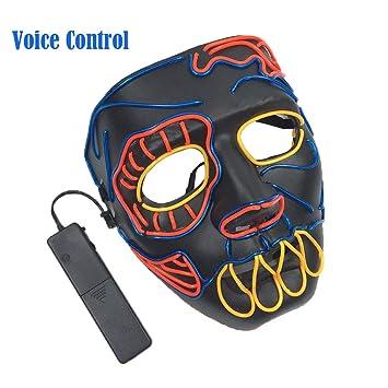 TAOtTAO - Máscara de Calavera con luz LED para Halloween, Disfraz de Fiesta, C