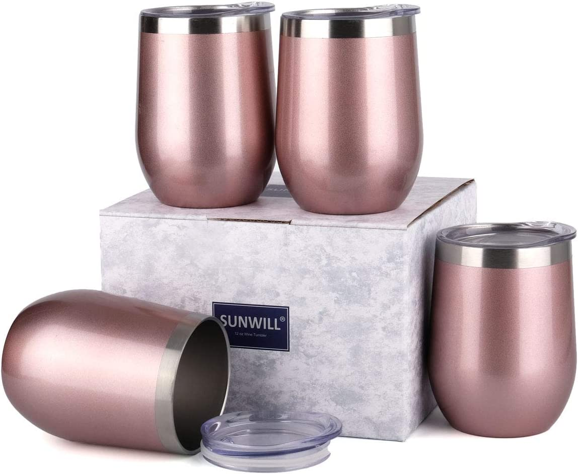SUNWILL Insulated Wine Tumbler with Lid Rose Gold 4 pack, Double Wall Stainless Steel Stemless Insulated Wine Glass 12oz, Durable Insulated Coffee Mug, for Champaign, Cocktail, Beer, Office