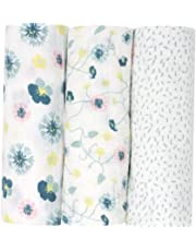 Mussola di Emma & Noah, pacco da 3, 100% cotone, 80 cm x 80 cm, bambina bavaglini comodi e soffici, ideale come copertine neonato di stoffa, pannolini lavabili, copertine per carrozzina e culla
