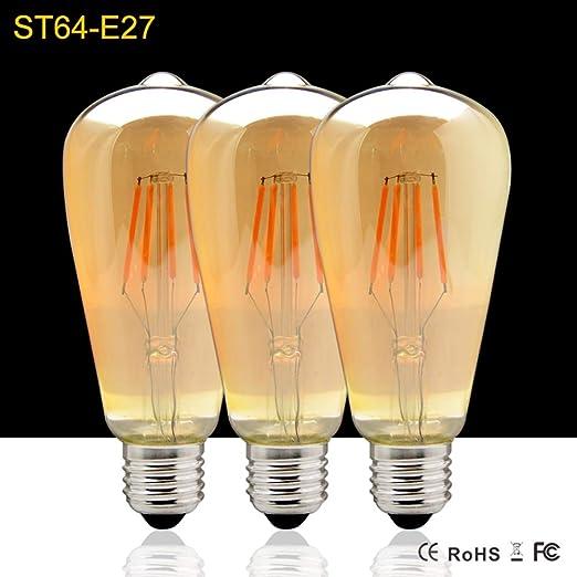 Retro - Bombilla LED E27 Edison, 4 W (40 W equivalente), ST64
