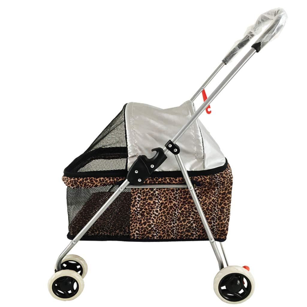 Dog Stroller Fashion Leopard Fold Light Portable Pet Stroller Cat and Dog Travel Universal Stroller Load 8Kg