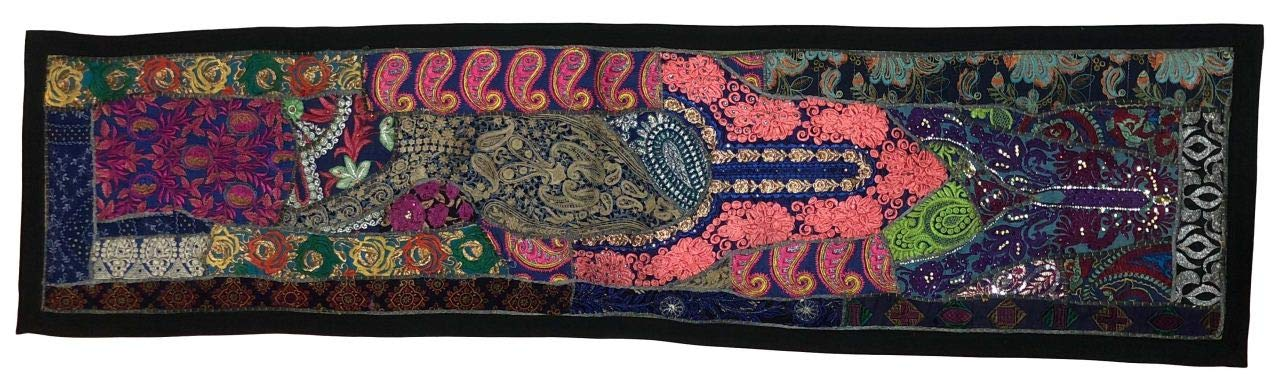 SBMINDIA Vintage Rajasthani Handmade Table Runner Wall Hanging Patchwork Tapestry Decoration 13 x 60