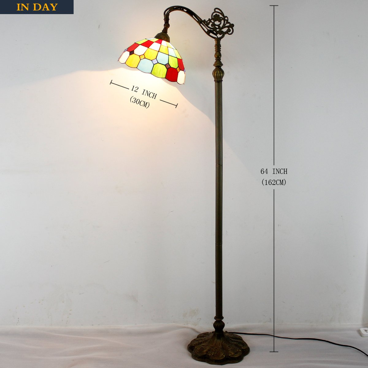 Tiffany Style Reading Floor Lamp Table Desk Lighting Tartan Design W12H64 E26 by werfactory (Image #4)