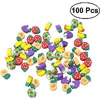 Toymytoy - Gomas de borrar para lápices de frutas, puzle, gomas de borrar, papelería, juguete de regalo para niños, 100 unidades (estilo aleatorio)