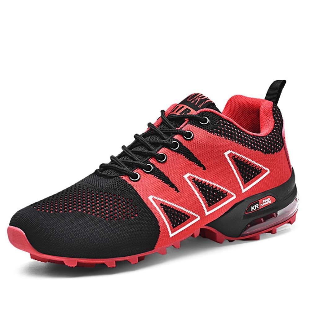 Qiusa Große Größe Sportschuhe für Männer weiche Sohle Rutschfeste Durable Casual Outdoor Trainer (Farbe   Rot, Größe   EU 40)
