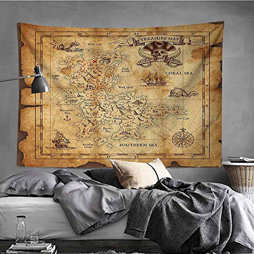 - AndyTours Simple Tapestry,Island Map Decor,Wall Tapestry for Bedroom,19