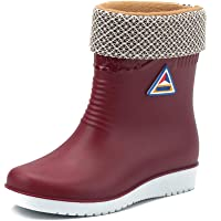 BotaLluviaMujer BotaGomaBotaImpermeableInvierno Botines Exterior Cálido Forrado Zapatos Planos