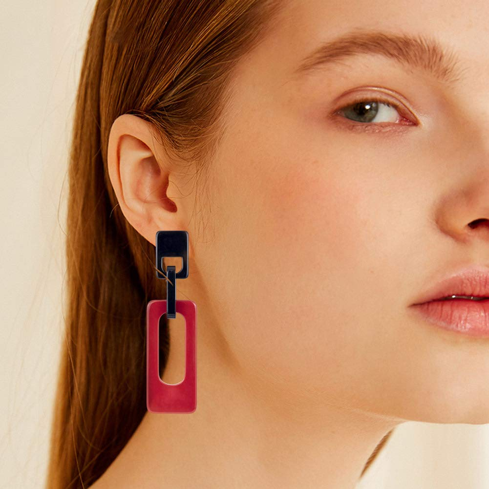 WDSHOW Hoop Earrings Tortoise Acrylic Octagon Drop Dangle Earring for Women Girls