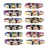 Frogsac Cowrie Shells Bracelets for Women Girls Teens Men (12 Pack) Woven Snap Bracelets with Natural Real Sea Shells - Tribal Woven Pattern - Great Party Favors