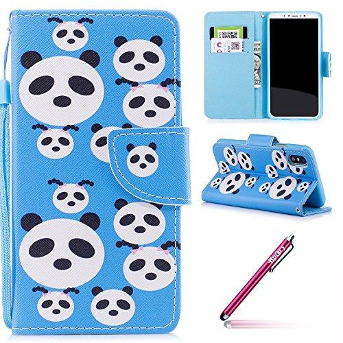 iPhone X Hülle,iPhone X Schutzhülle,iPhone X Lederhülle,Hpory Schön Luxus Bling Glänzend Glitzer Sparkle Löwenzahn Göttin Muster Ledertasche Handyhülle Brieftasche im BookStyle PU Leder Hülle Wallet C Panda