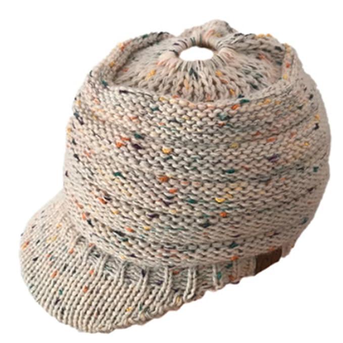 44e7359b8 AOXIANG Warm Knit Messy High Bun Ponytail Visor Beanie Cap Horsetail Hat