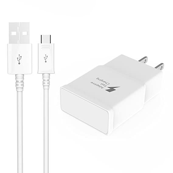 Cubier Adaptive Fast Charging Travel Wall Charger and 5ft Mico USB Cable for Samsung Galaxy S6/S7 Edge Plus Active Note 4/5 - White