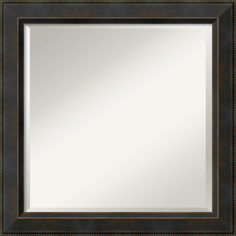Wall Mirror Signore Square, Signore Bronze Wood: Outer Size 24 x 24'' by Amanti Art (Image #1)