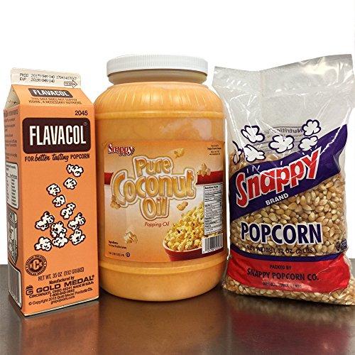 Popcorn Starter Pack: 1 gallon Coconut Oil, 1 Carton Flavacol, 2# Yellow Popcorn