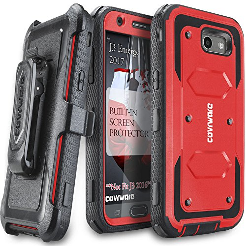 Price comparison product image Samsung Galaxy J3 Emerge / J3 Prime / J3 Eclipse / Express Prime 2 / Luna Pro / Amp Prime 2 / Sol 2 Case,  COVRWARE [Aegis Series] Built-in [Screen Protector] Heavy Duty Rugged Holster [Belt Clip][Kickstand] Red