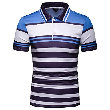 b9b69f29f07b Comaba Men Causal Hit Color Stripes Printed Short-Sleeve Polo Shirt T-Shirt  Top at Amazon Men's Clothing store: