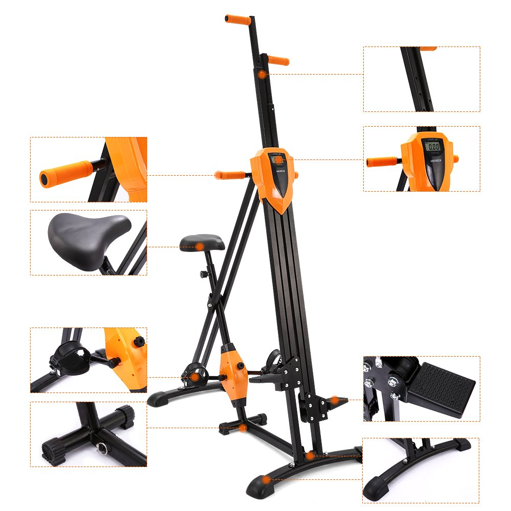 ANCHEER Vertical Climber Folding Exercise Climbing Machine, Exercise Equipment Climber for Home Gym, Exercise Bike for Home Body Trainer (Orange)