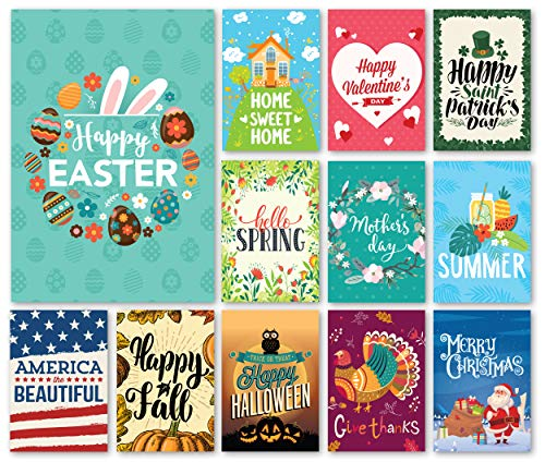 (Happy Yard Seasonal Garden Flag Set for Outdoors   Set of 12 Artistically Designed Flags   12-inch x 18-inch   Holiday Themed, Durable &)