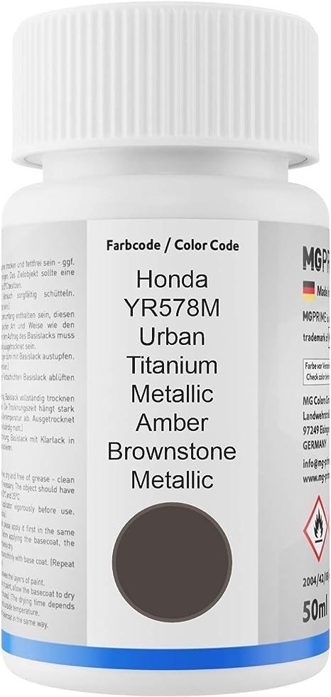 Mg Prime Autolack Lackstift Set Für Honda Yr578m Urban Titanium Metallic Amber Brownstone Metallic Basislack Klarlack Je 50ml Auto