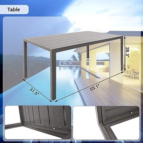 Dporticus - Juego de Mesa de jardín y Silla de Comedor (5 Piezas, Incluye 4 sillas apilables y una Mesa de Madera de imitación de Aluminio para Patio ...