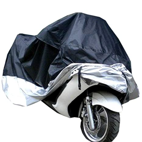 L Silver UV Waterproof Outdoor Rain Dust Protector Universal Motorcycle Cover