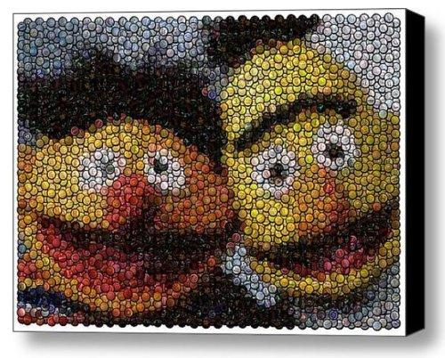 Sesame Street St. Ernie and Bert Bottle Cap Mosaic 9x11 Inch Limited Edition W/coa]()