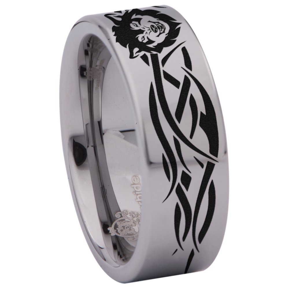 Friends of Irony Tungsten Carbide Tribal Wolf Ring Wedding Band Anniversary Ring for Men and Women 8mm