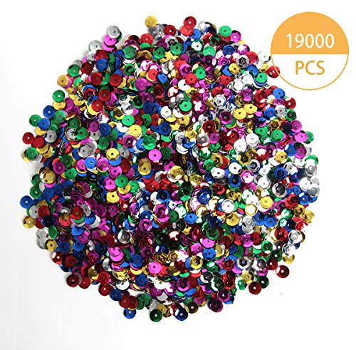 Happy Shop 19000 Pcs Bulk Loose Sequins Cup Sequin Iridescent Spangles Flat Beads Mixde Colors for Crafts, Sewing, Sequin Slime, Wedding Decoration, DIY Arts Crafts,6mm,250 Grams