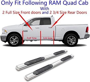 """For 09-18 Dodge Ram 1500 Quad Cab 5/"""" Running Board Side Step Nerf Bar S//S S"""