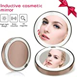 LED Lighted Travel Makeup Mirror, 1X/3X Magnification - Daylight Led, Small Folding Compact Travel Make Up Shaving Mirror,USB charging