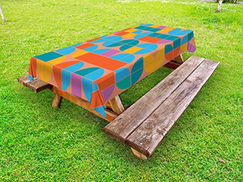 Lunarable Geometric Outdoor Tablecloth, Retro Style Mosaic Geometric Shapes of Quadrants and Squares in, Decorative Washable Picnic Table Cloth, 58 X 120 Inches, Multicolor