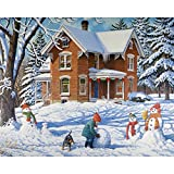 Bits and Pieces - 500 Piece Jigsaw Puzzle for Adults - Making New Friends - 500 pc Building Snowmen Jigsaw by Artist John Sloane
