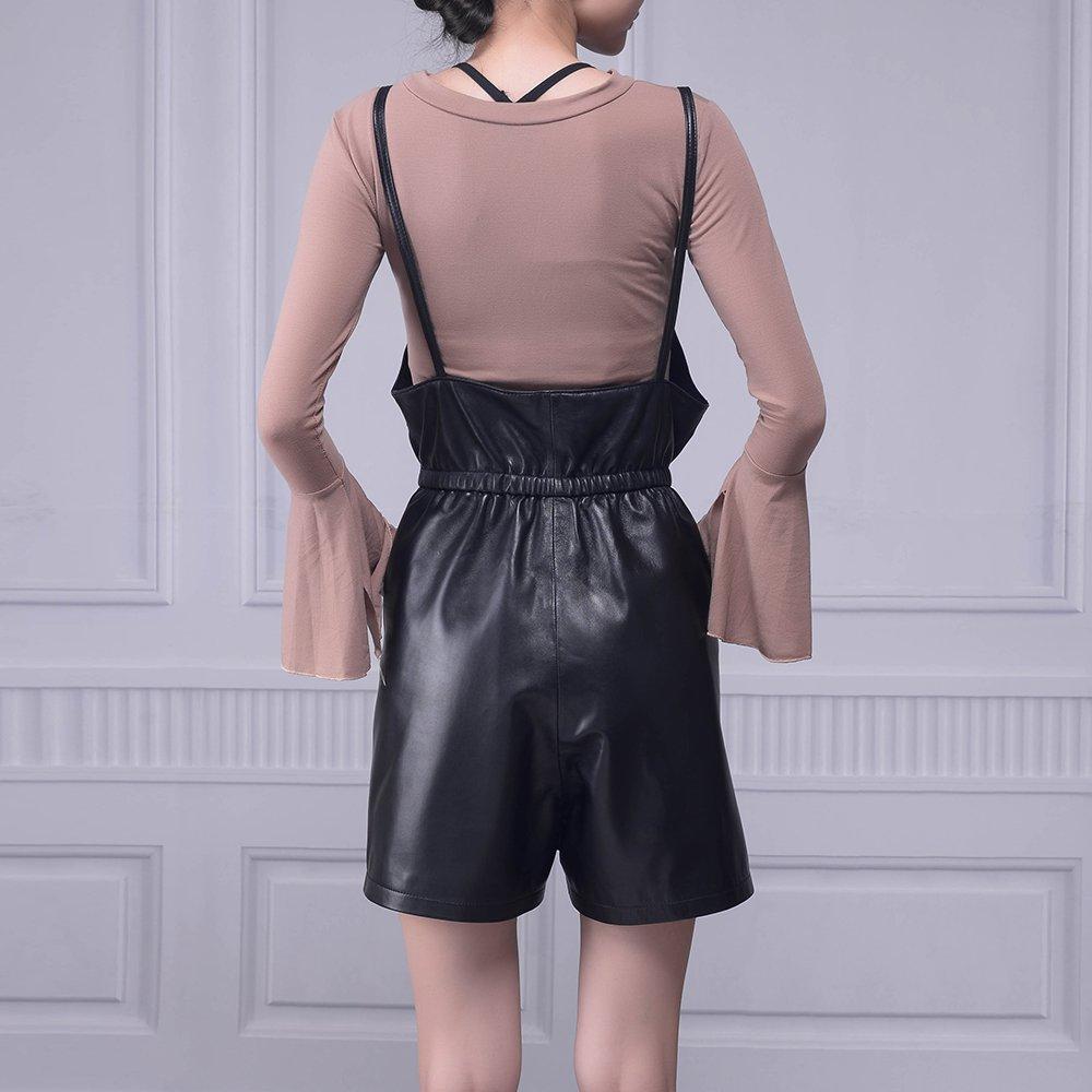 Jiashibao Women Pure Sheep Leather Short Jumpsuits V-Neck Elastic Waist Wide Legs Black Shorts Overalls (XL) by Jiashibao (Image #2)