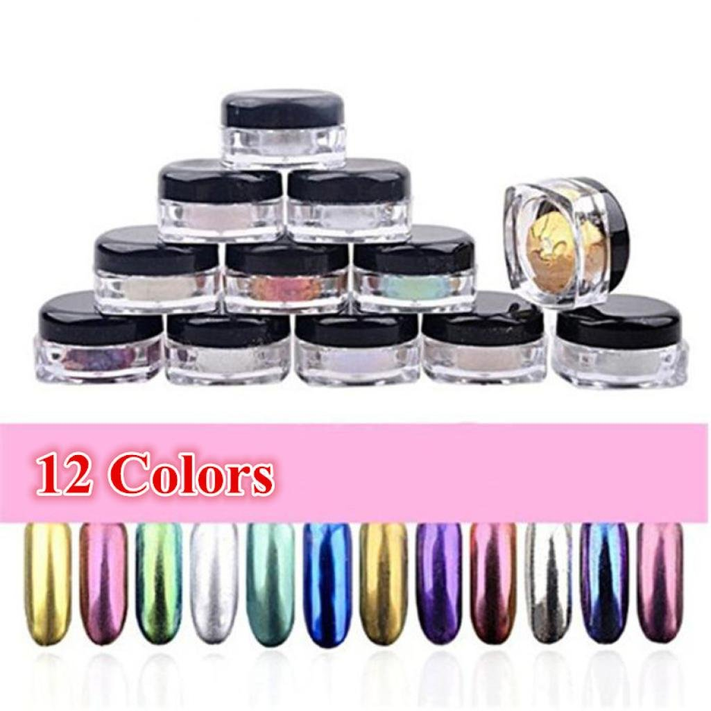 Mirror Nail Powder ,Xisheep 12 Colors Nail Glitter Powder Shinning Nail Mirror Powder Makeup Art DIY Chrome Pigment With 12pcs Sponge Stick