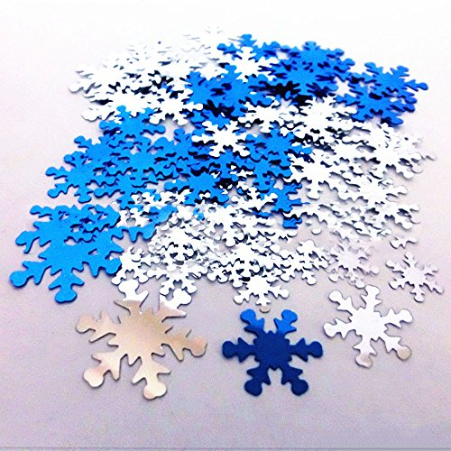 Dealglad 1000PCS PVC Glitter Christmas Snowflake Sequins Paillette Confetti for Wedding Birthday Party Decoration DIY Crafts 15mm (Blue & Silver) -
