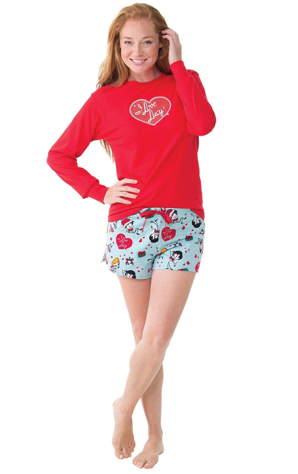 PajamaGram I Love Lucy Christmas Short Set Pajamas for Women, Red, MED (8-10)